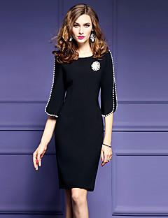 女性 ストリートファッション プラスサイズ お出かけ シフト ドレス,ソリッド ラウンドネック 膝丈 ハーフスリーブ ブラック ポリエステル 春 ミッドライズ 伸縮性なし ミディアム