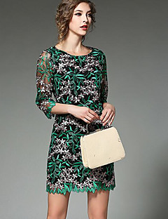 Women's Going out Party/Cocktail Holiday Sexy Vintage Chinoiserie A Line Dress,Geometric Lace Round Neck Above Knee ¾ Sleeve Rayon Green