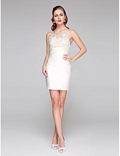 2017 Lanting Bride® Sheath / Column Wedding Dress - Chic & Modern Little White Dresses See-Through Wedding Dresses Short / Mini JewelLace