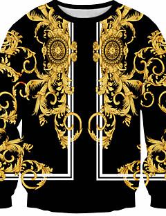 Cosplay Lolita šaty Zlatá Černá Tisk Dlouhé rukávy T-Back Pro Muži Terylen Polyester
