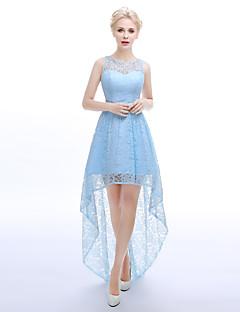 Assimétrico Renda Elegante Brilho & Glitter Sensual Vestido de Madrinha - Linha A Decorado com Bijuteria com Faixa / Fita