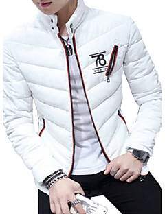 Men's Regular Padded Coat,Simple Going out Beach Holiday Solid-Cotton Cotton Long Sleeve