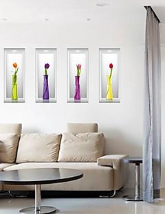Divat Virágok 3D Falimatrica Repülőgép matricák 3D-s falmatricák Dekoratív falmatricák,Papír Anyag lakberendezési fali matrica