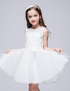 Ball Gown Knee-length Flower Girl Dress - Organza Sleeveless Jewel with Bow(s) Lace