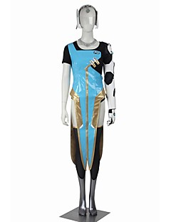 Inspired by Overwatch Symmetra Video Game Cosplay Costumes Cosplay Halloween Suits Cosplay Tops/Bottoms Patchwork Black Blue GoldenCoat Top