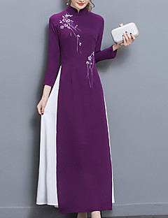 Women's Going out Casual/Daily Party/Cocktail Vintage Simple Chinoiserie Shift Dress,Solid Jacquard Stand Maxi Knee-length Long Sleeve
