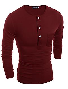 Tee-shirt Hommes,Couleur Pleine Sortie Décontracté / Quotidien Travail Vintage simple Toutes les Saisons Manches Longues Col ArrondiBleu