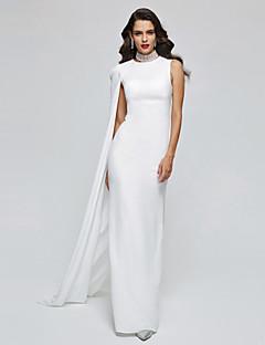 TS Couture Soirée Formel Robe - Elégant Look de Célébrité Fourreau / Colonne Col Haut Longueur Sol Mousseline de soie avec Plissé