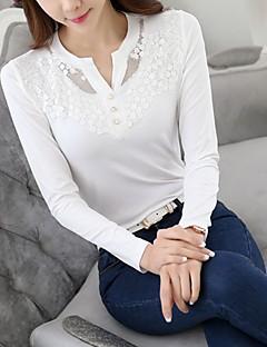 T-shirt-Damskie Urocza Moda miejska Wyjściowe Codzienne Praca-W serek Jendolity kolor Haft-Długi rękaw Biały Czarny Bawełna