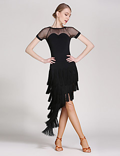 Latin Dance Outfits Women Performance Tulle Viscose Tassel(s) 2 Pieces Short Sleeve Natural Top Skirt