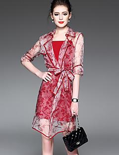 אביב קיץ פוליאסטר ניילון אדום אורך חצי שרוול מעל הברך צווארון פיטר פן דפוס סגנון רחוב יום יומי\קז'ואל שמלה שני חלקים נשים,גיזרה בינונית