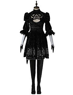 Video Game Cosplay Costumes Cosplay Suits Dresses Cosplay Tops/Bottoms Solid BlackDress Headpiece Mask Gloves
