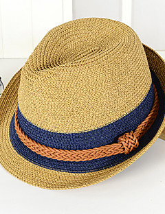 Unisex Fashion Straw Bucket Hat Rope Cap Sun Hat Jazz Hat Men Women Vintage Casual Summer Color Blocks