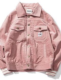 Masculino Jaqueta Casual Simples Primavera,Sólido Padrão Poliéster Colarinho de Camisa Manga Longa
