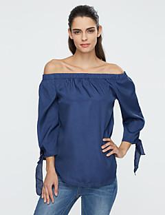 אחיד סירה רחב סגנון רחוב יום יומי\קז'ואל חולצה נשים,קיץ שרוול ארוך כחול / לבן / אפור בינוני (מדיום) פוליאסטר