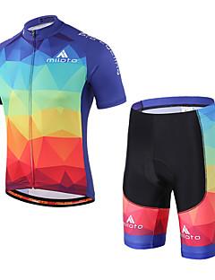 Miloto שרוול קצר חולצת ג'רסי ומכנס קצר לרכיבה יוניסקס אופניים שורטים (מכנסיים קצרים) מרופדים מדים בסטיםנושם ייבוש מהיר רצועות מחזירי אור