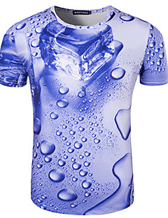 Men's Sports Formal Going out Casual/Daily Simple Active Summer T-shirt,Print Round Neck Short Sleeve Cotton Medium
