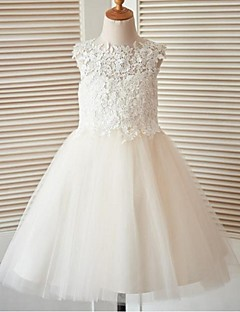 A-line Knee-length Flower Girl Dress - Lace Tulle Jewel with Buttons Lace
