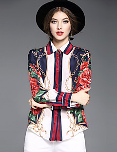 OYCP Women's Casual/Daily Work Sophisticated Spring Summer ShirtFloral Shirt Collar Long Sleeve Silk