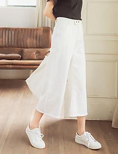 九つの白い広い脚のパンツストレートジーンズのズボン女性の大学の風