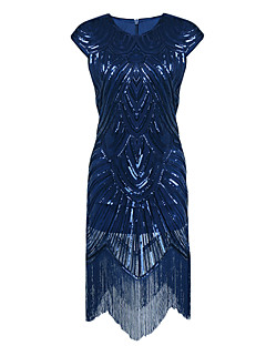 Women's 1920s Formal Party Flapper Dress Sequin Tassel Embroidered Round Neck Short Sleeve Polyester Nylon Blue