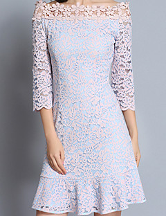 Going out Casual/Daily Work Sexy Street chic Sophisticated Sheath Dress,Floral Lace Boat Neck Above Knee ¾ Sleeve Others BlueSpring