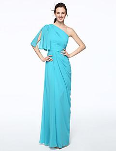 LAN TING BRIDE עד הריצפה כתפיה אחת שמלה לשושבינה - אלגנטי שרוול קצר שיפון