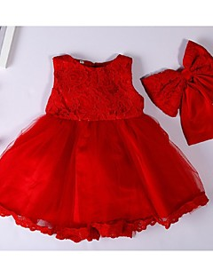 Ball Gown Short / Mini Flower Girl Dress - Organza Jewel with Bow(s) Lace