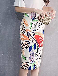 Feminino Saias-Bodycon EstampadoSexy Vintage Moda de Rua Cintura Alta Happy-Hour Bandagem Férias Midi Zíper Poliéster Micro-ElásticoAll