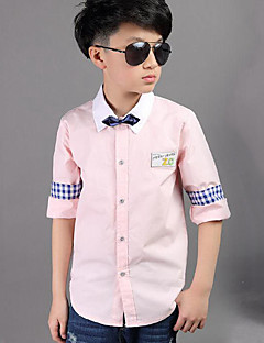 Boy Casual/Daily Patchwork Shirt,Cotton Spring Fall Long Sleeve Regular