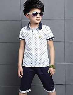 Boy Going out Casual/Daily Sports Polka Dot Sets,Cotton Summer Short Sleeve Clothing Set