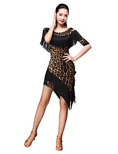 Latinské tance Úbory Dámské Trénink Süt Filtresi Střapce Levhart 2 kusy 3 / 4 rukávy Přírodní Sukně horní a dolní část) =51=53,=55,=57,=58
