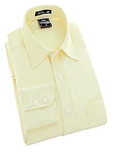 Masculino Camisa Casual / Escritório / Formal / Esporte Cor Solida Manga Comprida Poliéster Rosa / Branco / Amarelo