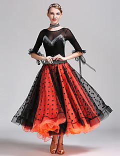 ריקודים סלוניים שמלות נשים ביצועים טול לייקרה מנוקד 2 חלקים חצי שרוול טבעי שמלה Neckwear
