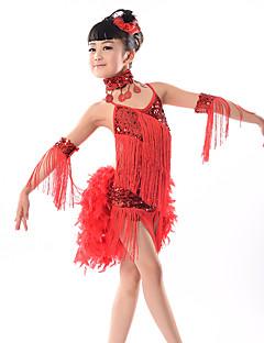 יהיה לנו שמלות ריקודים לטינית ילדים הביצועים חלב סיבים paillettes הגדילים (ים) 5 חלקים ללא שרוולים שמלה טבעית