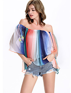 Going out Beach Party/Cocktail Sexy Blouse,Rainbow Boat Neck ½ Length Sleeve Multi-color Polyester Medium