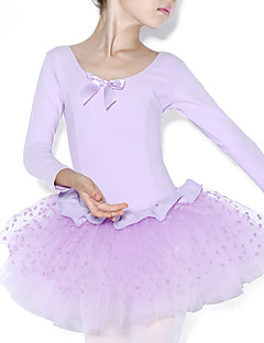 Balé Vestidos Crianças Treino Algodão Frufru Recortes 1 Peça Manga Comprida Natural Malha Collant