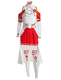 Inspirovaný Sword Art Online Asuna Yuuki Anime Cosplay kostýmy Cosplay šaty Patchwork Biały / Czerwony Bez rukávůVrchní deska / Sukně /