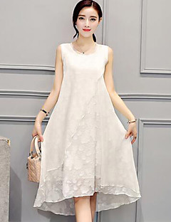Women's Plus Size Casual/Daily Simple Loose Dress,Solid Round Neck Midi Sleeveless White Black Rayon Summer Mid Rise Inelastic Medium