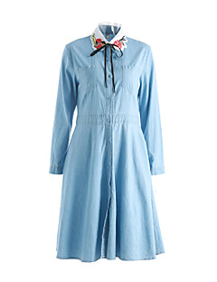 סתיו כותנה / פוליאסטר כחול שרוול ארוך מידי צווארון פיטר פן אחיד פשוטה ליציאה שמלה גזרת A נשים,גיזרה בינונית (אמצע) קשיח בינוני (מדיום)