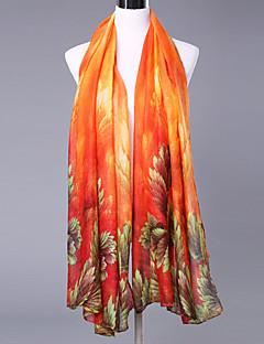 Skjerf Vintage Fest Fritid Damer Bomull Polyester,Rektangulær Trykt mønster Rød Grønn Rosa Gul Oransje