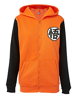 Inspiriert von Dragon Ball Allen Walker Anime Cosplay Kostüme Cosplay Hoodies Druck Schwarz / Orange Lange Ärmel Top