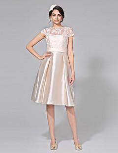 LAN TING BRIDE Linha A Vestido de casamento - Elegante e Luxuoso Transparências Vestidos Noiva de Cor Até os Joelhos Canoa Renda Mikado