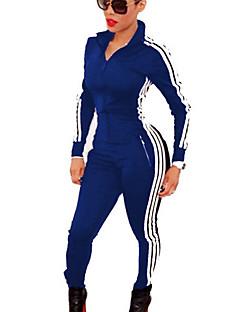 Obcisłe Kombinezon-Vintage Aktywny Codzienne Sportowy Wielokolorowa Kołnierzyk koszuli Długi rękaw Średni stan Rayon PolyesterŚrednio