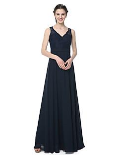 Lanting Bride® Golvlång Chiffong Spets Elegant Brudtärneklänning - A-linje V-hals Med Spets Bälte / band Plisserat