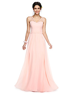 A-Line V-neck Floor Length Georgette Bridesmaid Dress with Bow(s) Sash / Ribbon by LAN TING BRIDE®