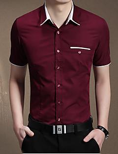 Bomull Blå Rød Hvit Beige Medium Kortermet,Skjortekrage Skjorte Ensfarget Sommer Enkel Fritid/hverdag Herre