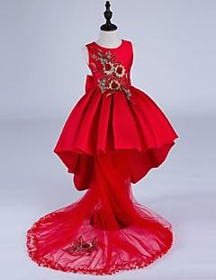 Plesové šaty Asymetrické Šaty pro květinovou družičku - Satén Bez rukávů Klenot s Výšivka