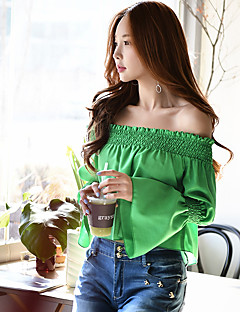 DABUWAWA Women's Off Shoulder/Flare Sleeve Going out Casual/Daily Holiday Vintage Sophisticated Spring Fall ShirtSolid Long Sleeve Green Opaque