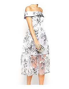 Damer Simpel I-byen-tøj Afslappet/Hverdag A-linje Kjole Blomstret,Skulderfri Knælang Uden ærmer Polyester Sommer Alm. taljede